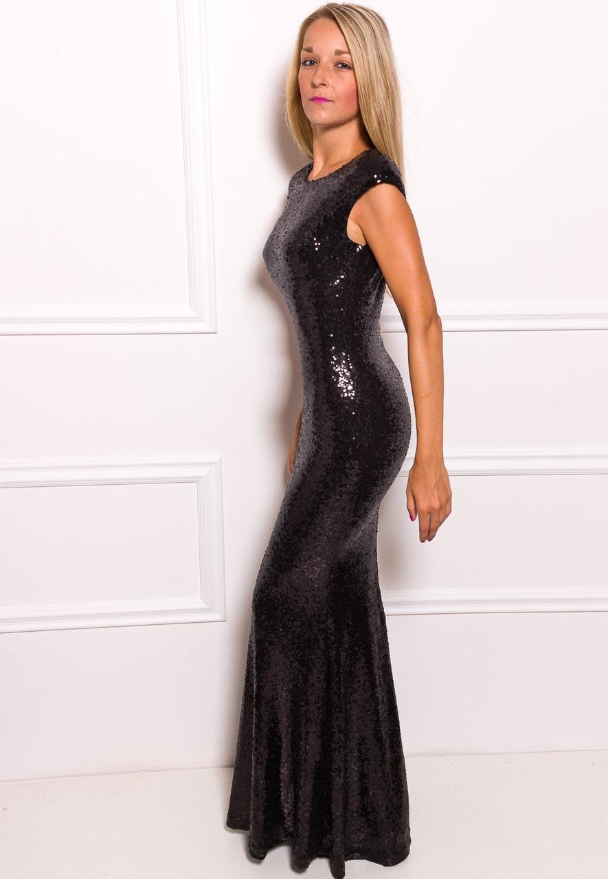 5ad4451ed96 Společenské luxusní dlouhé šaty s flitry - černá - Due Linee - Last ...