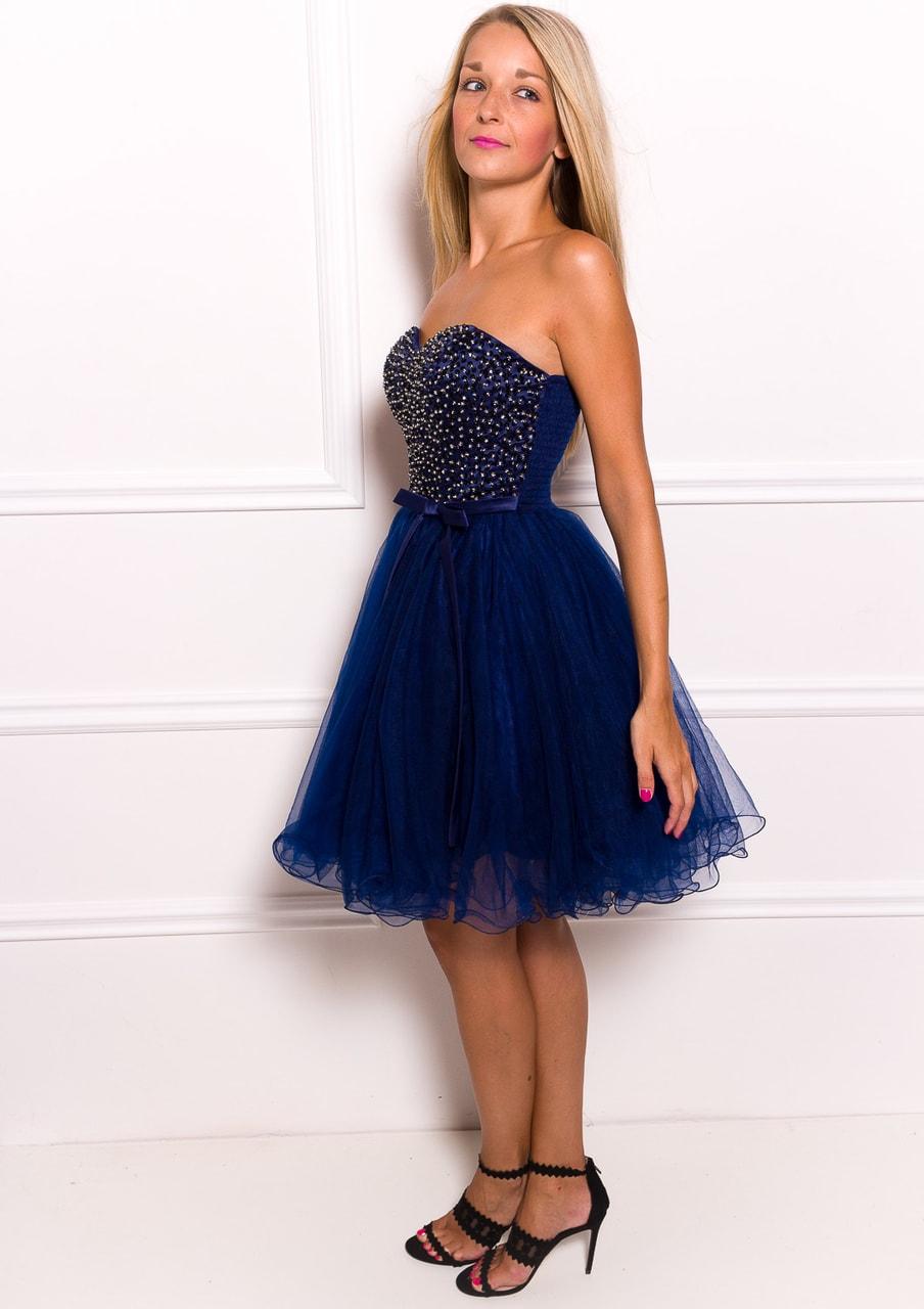 c6e292c4cbd Dámské krátké plesové šaty bez ramínek - tmavě modrá - Due Linee ...