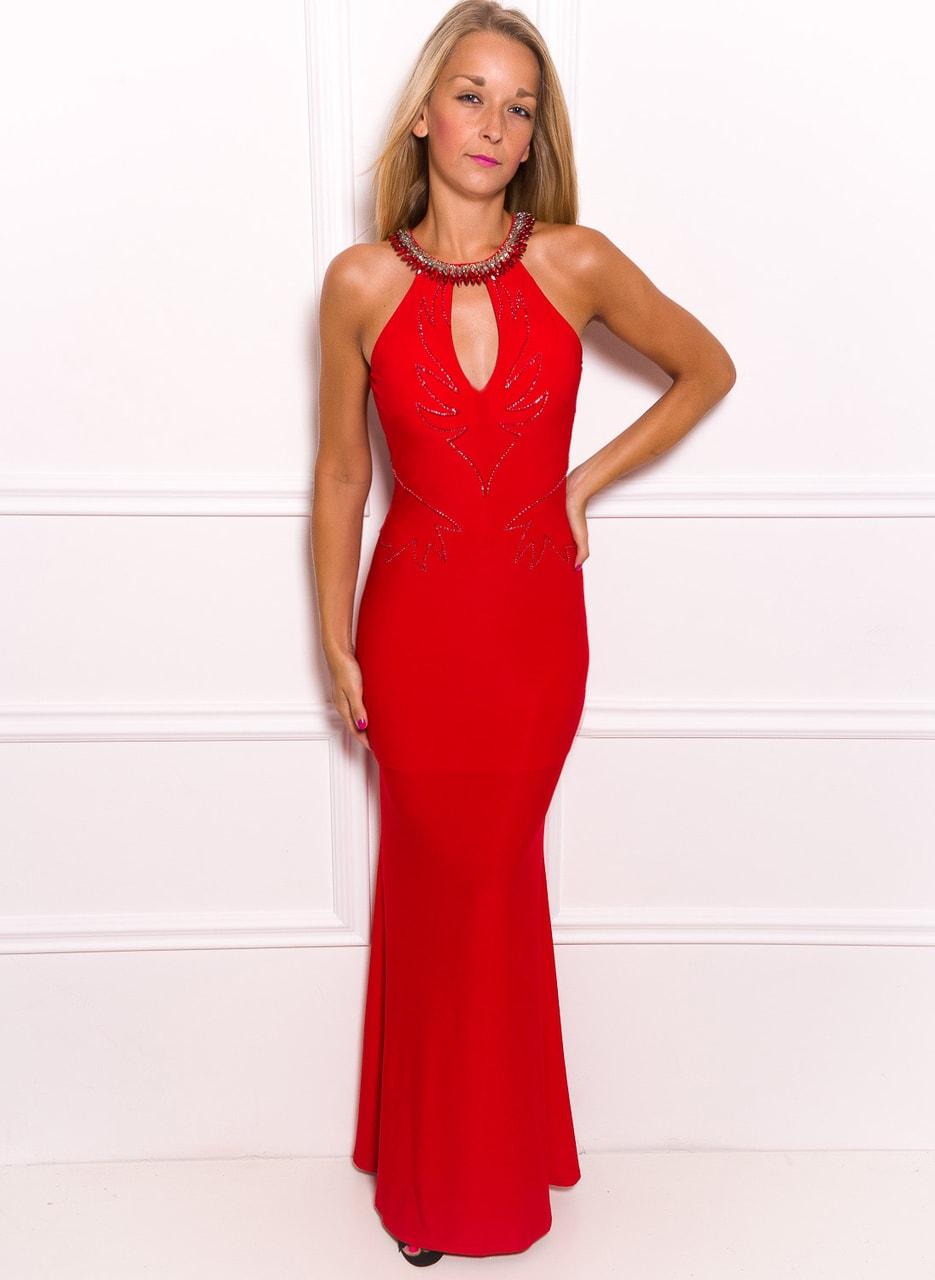 1dd74fe1f88 Společenské dlouhé šaty s výkrojem na zádech - červená - Due Linee ...