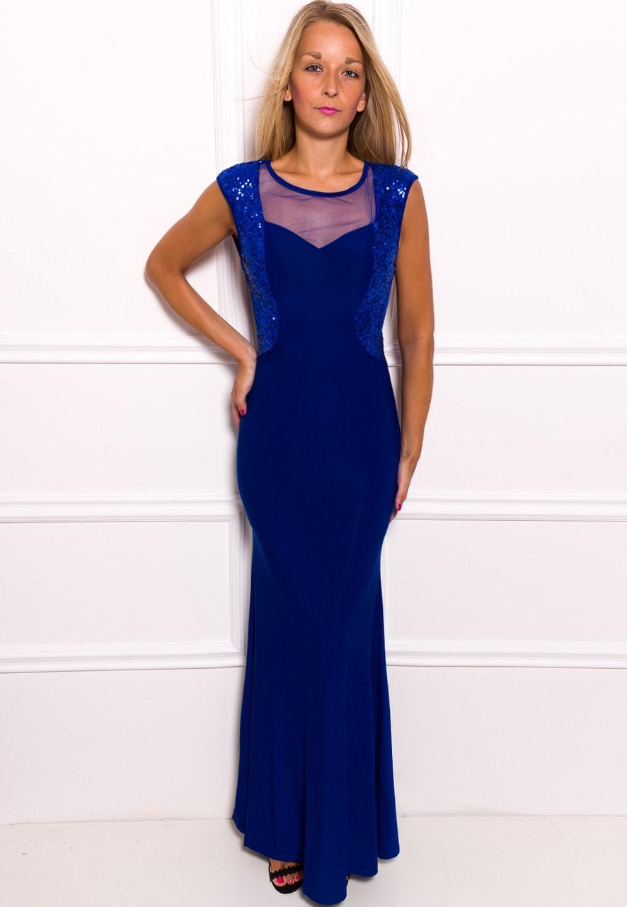 Společenské dlouhé šaty s flitry - modrá - Due Linee - Dlouhé šaty ... c0c112726b