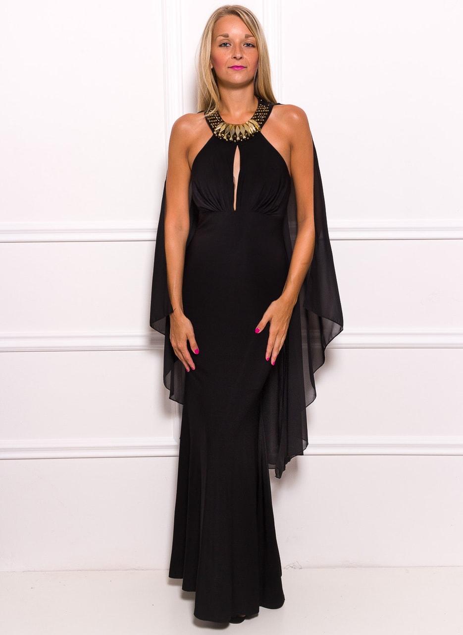 Společenské dlouhé šaty se zdobením kolem krku a šálem - černá - Due ... 9e5fc62501