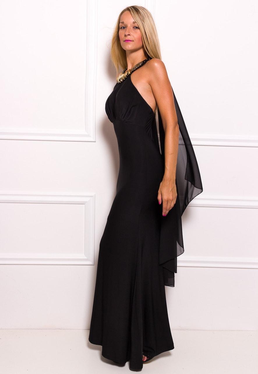 Glamadise.sk - Spoločenské dlhé šaty so zdobením okolo krku a šálom ... 7c34216bec1