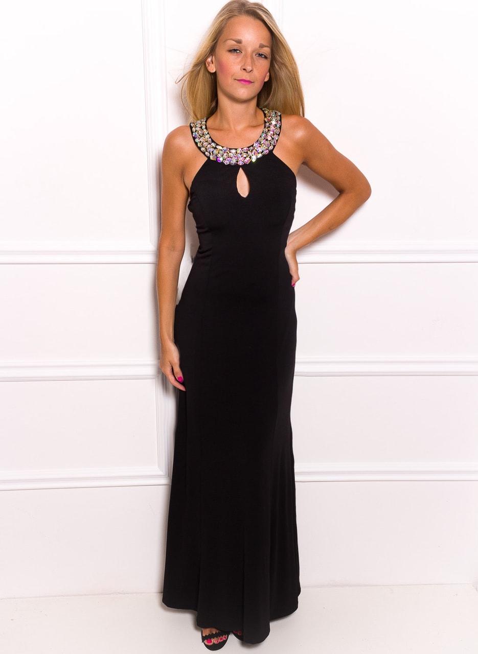 Společenské dlouhé šaty s kamínky kolem krku a zádech - černá - Due ... 0394320d02
