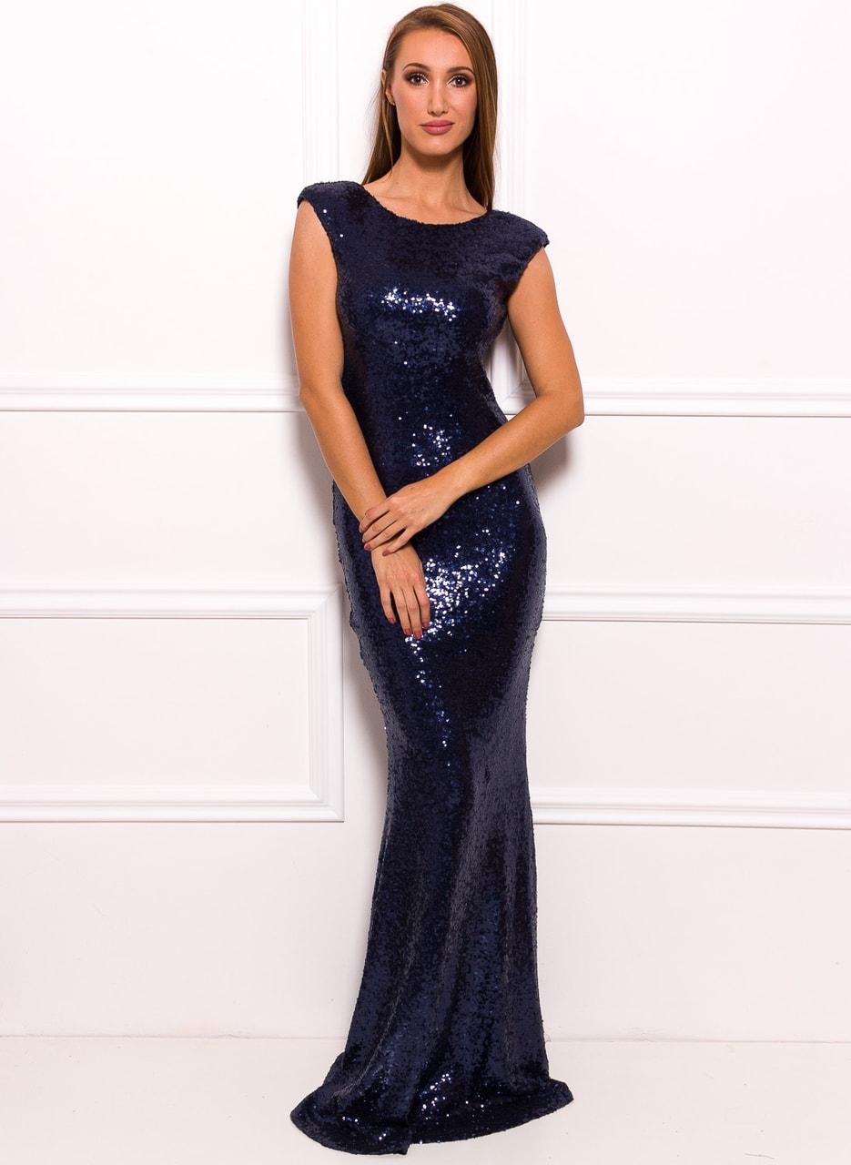 Společenské luxusní dlouhé šaty s flitry - tmavě modrá - Due Linee ... 59d9b0fa7da