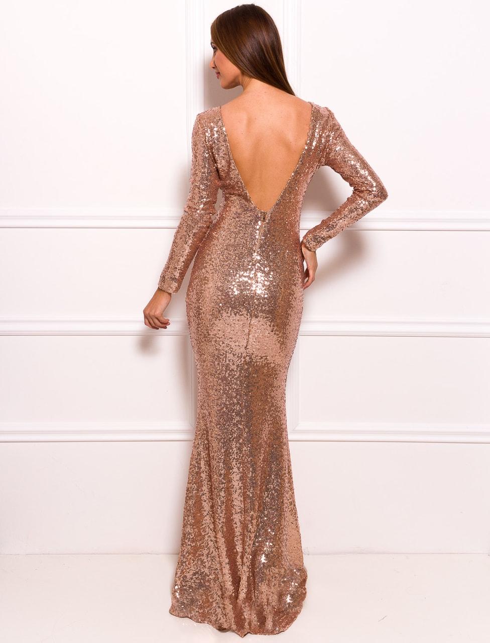Společenské luxusní dlouhé šaty s flitry a rukávy - zlatá - Due ... 059aa0bd69