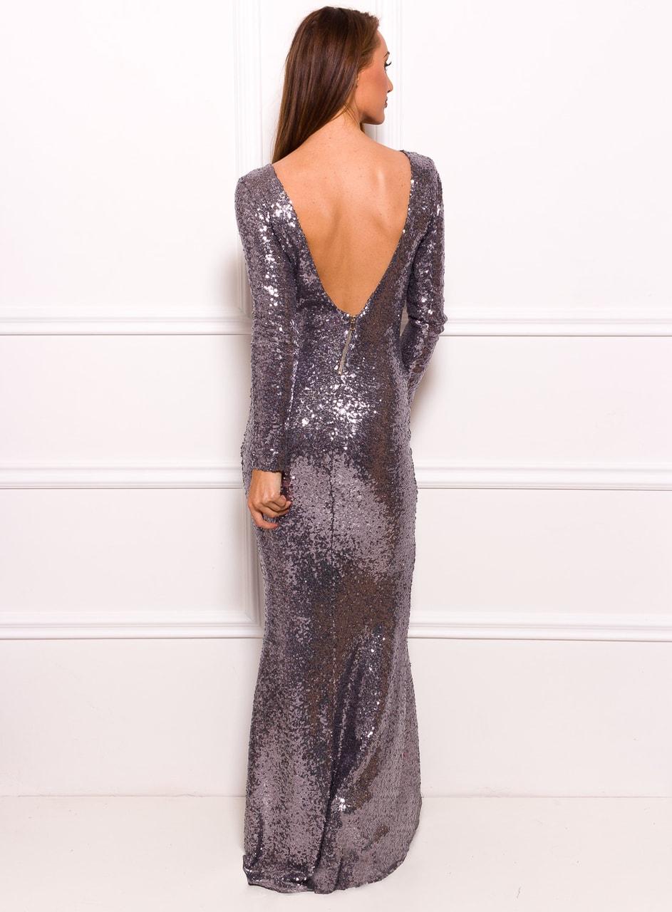 Společenské luxusní dlouhé šaty s flitry a rukávy - stříbrná - Due ... 2e8b22c2d78
