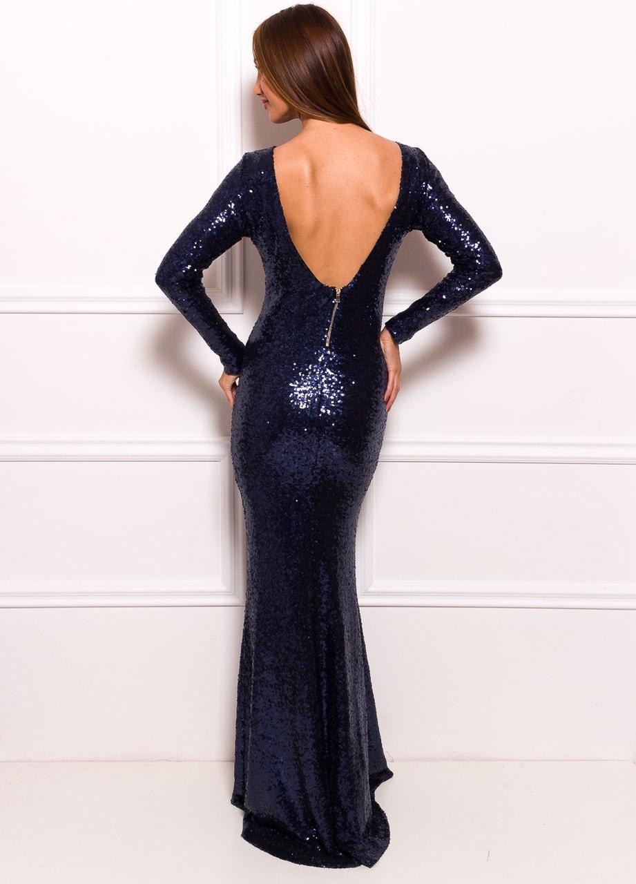 Společenské luxusní dlouhé šaty s flitry a rukávy - tmavě modrá ... a2433e7793