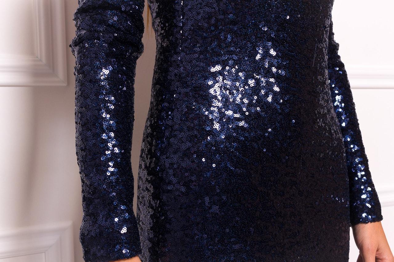 8385ff22ea3 Společenské luxusní dlouhé šaty s flitry a rukávy - tmavě modrá ...