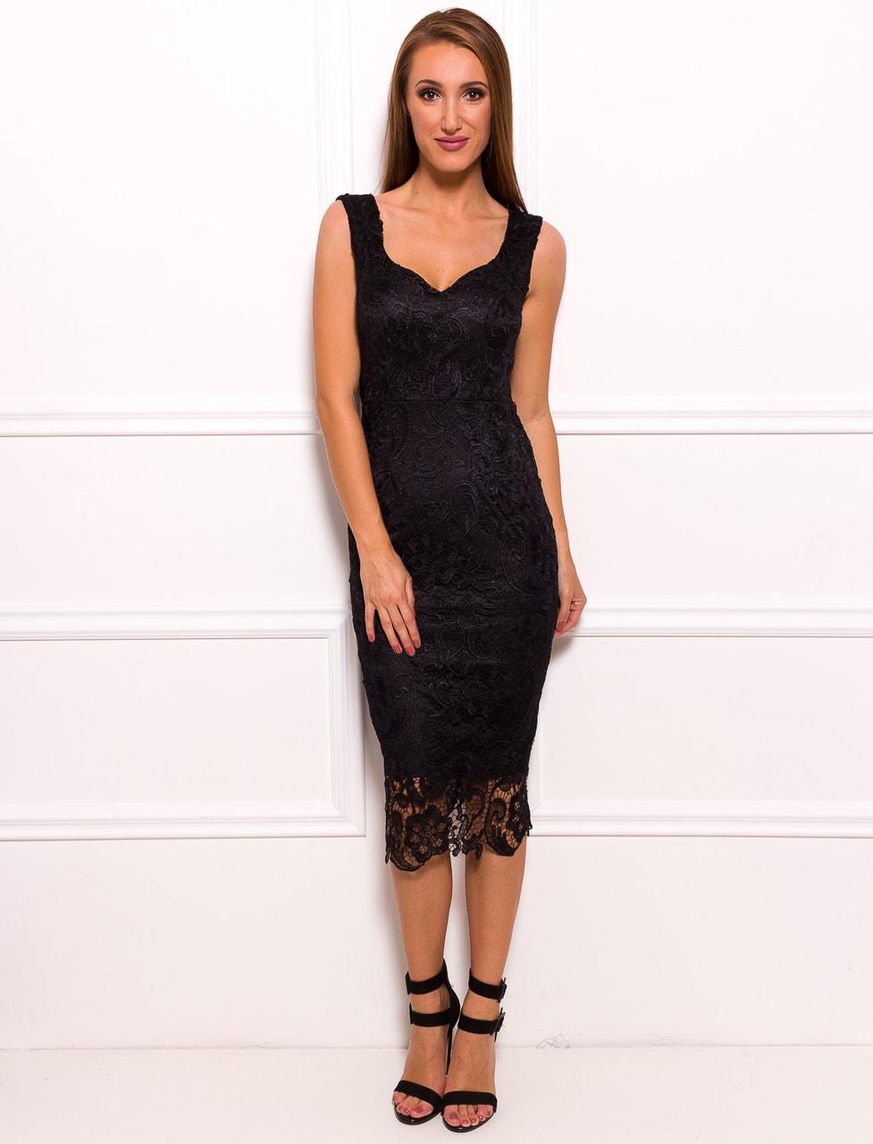 8966ae49649 Dámské luxusní krajkové midi šaty - černá - Due Linee - Midi šaty ...
