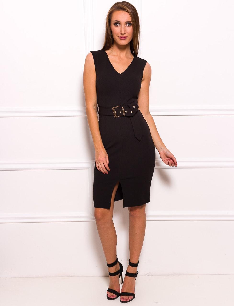 be681208a680 Glamadise.sk - Dámske elegantné šaty čierne s opaskom a zlatou ...