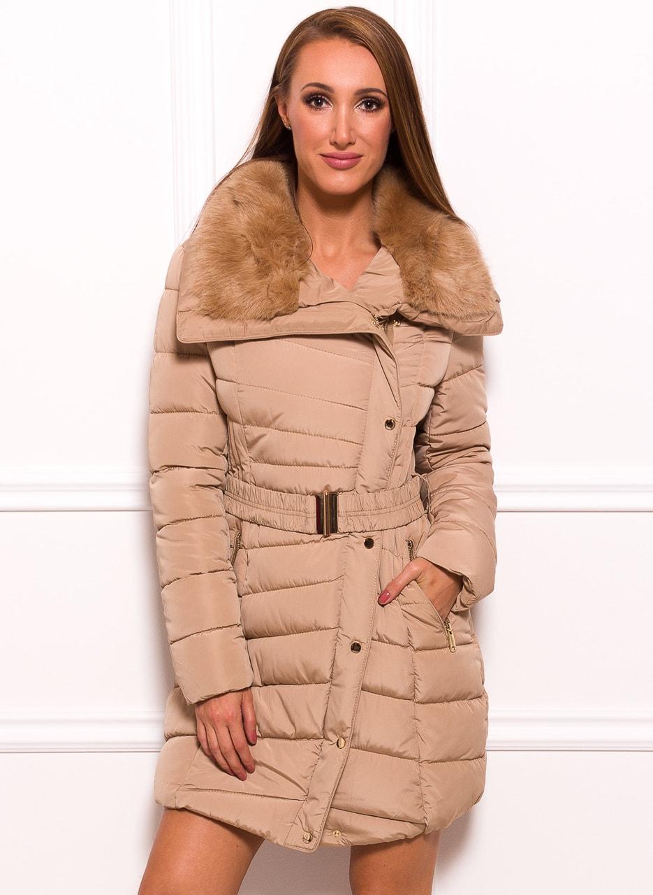Glamadise.sk - Dámska zimná bunda s gombíkmi a opaskom - béžová ... a7a62cde02a