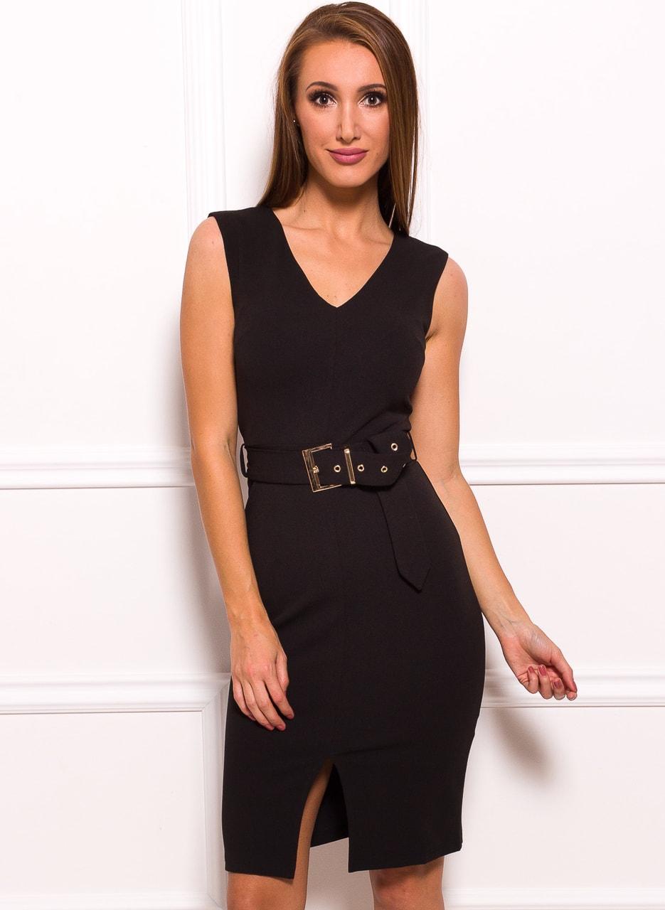 Glamadise.sk - Dámske elegantné šaty čierne s opaskom a zlatou ... 3a2d2d0a21b