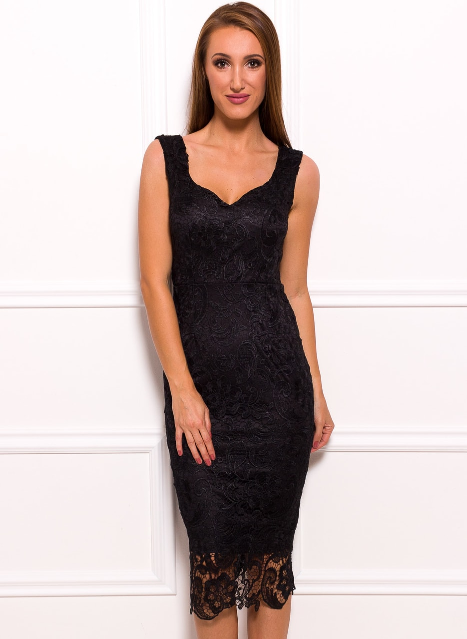 Glamadise.sk - Dámske luxusné čipkované midi šaty - čierna - Due ... ddaaf77a631