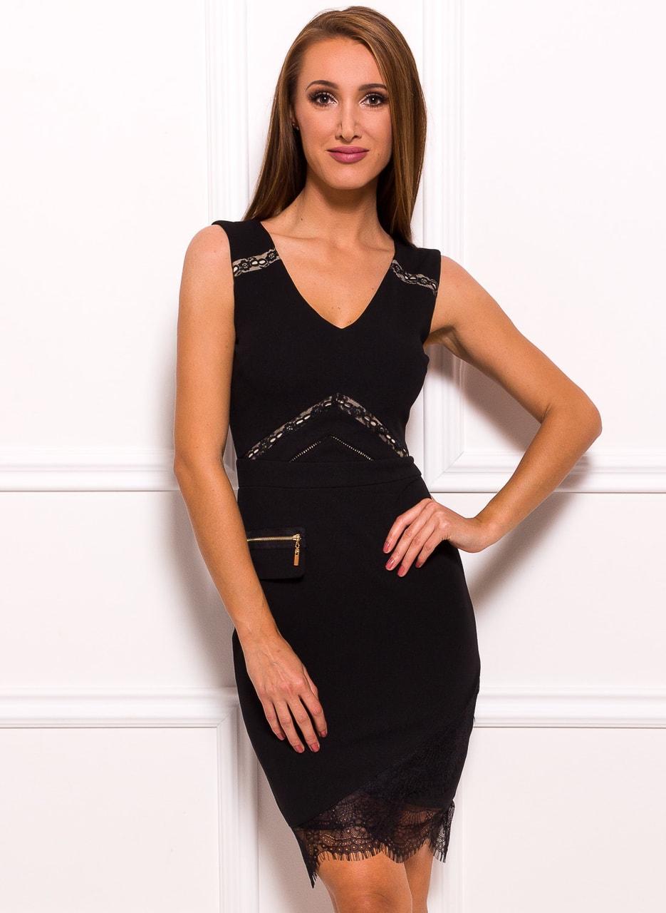 Glamadise.sk - Dámske elegantné šaty s falošnou vreckom - čierna ... b1eb0268788