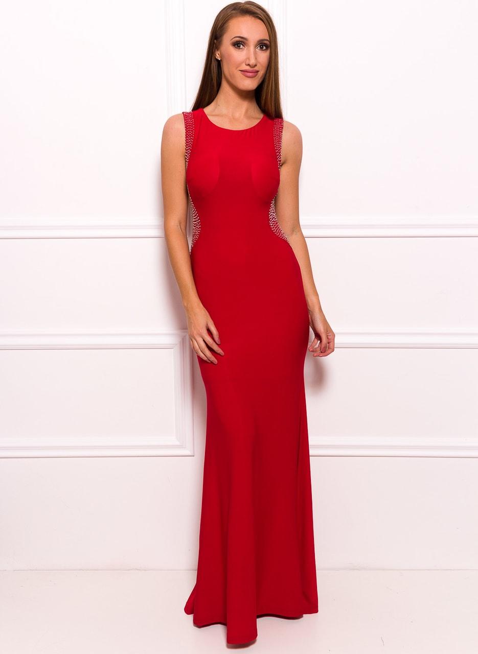 0293f61a8d5 Společenské dlouhé šaty s korálky na boku - červená - Due Linee ...
