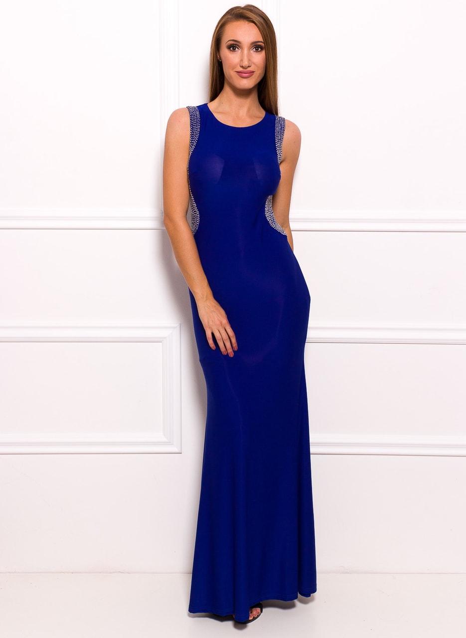 Společenské dlouhé šaty s korálky na boku - modrá - Due Linee ... c63b29938c
