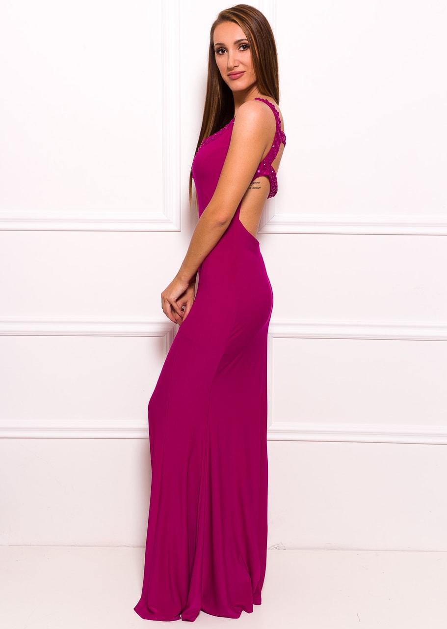 Společenské dlouhé šaty s volnými zády - fialová - Due Linee ... b8be405d99