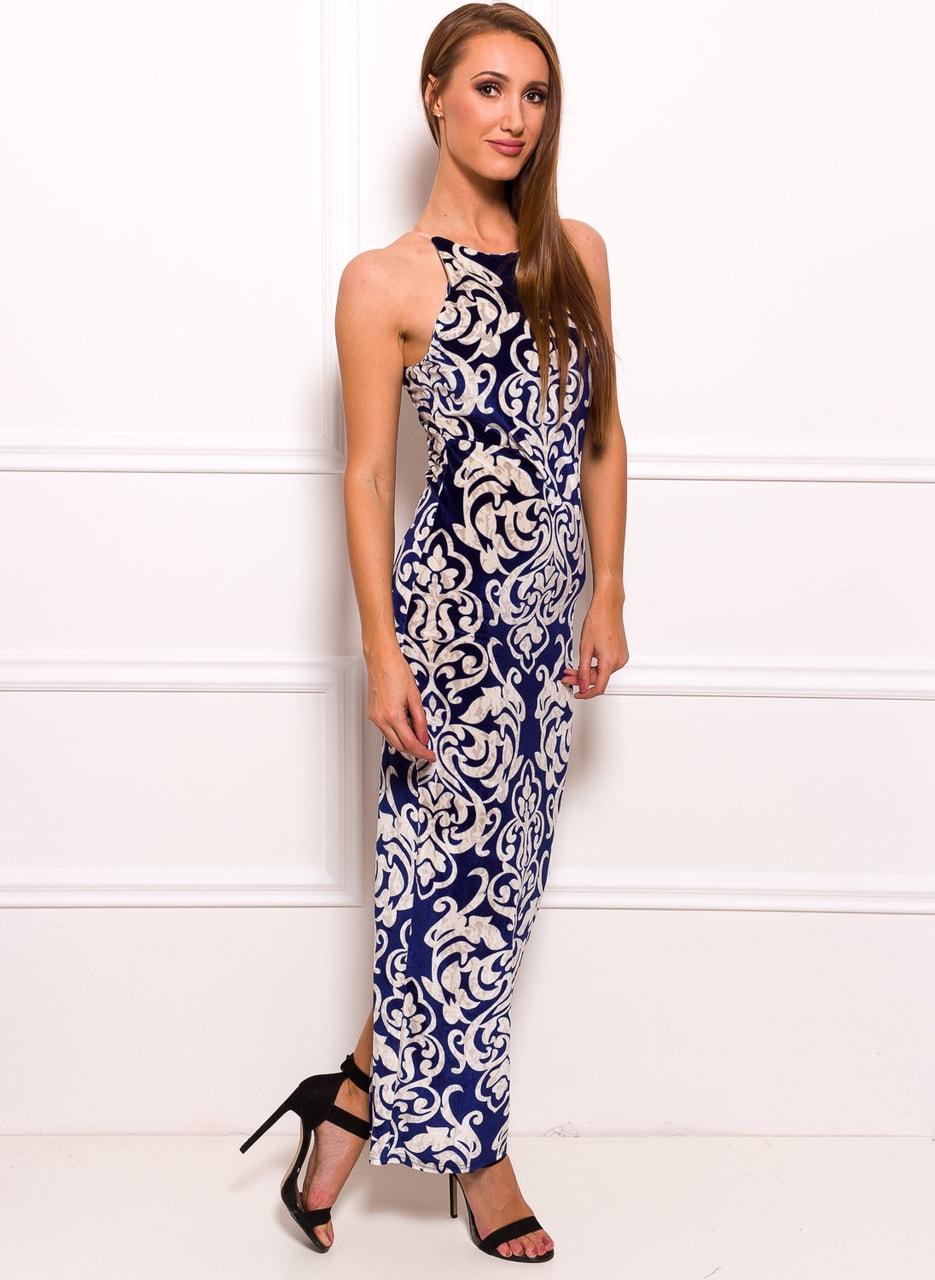 Glamadise.sk - Spoločenské dlhé šaty s motívom kvetín - modrá - Due ... 70478b12bba