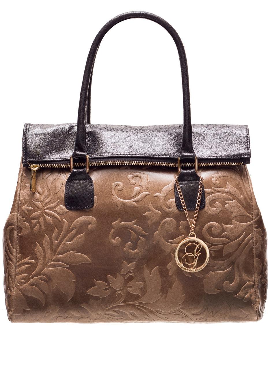 Glamadise.sk - Dámska kožená kabelka kombináciám čiernej a béžovej ... f896de0c431
