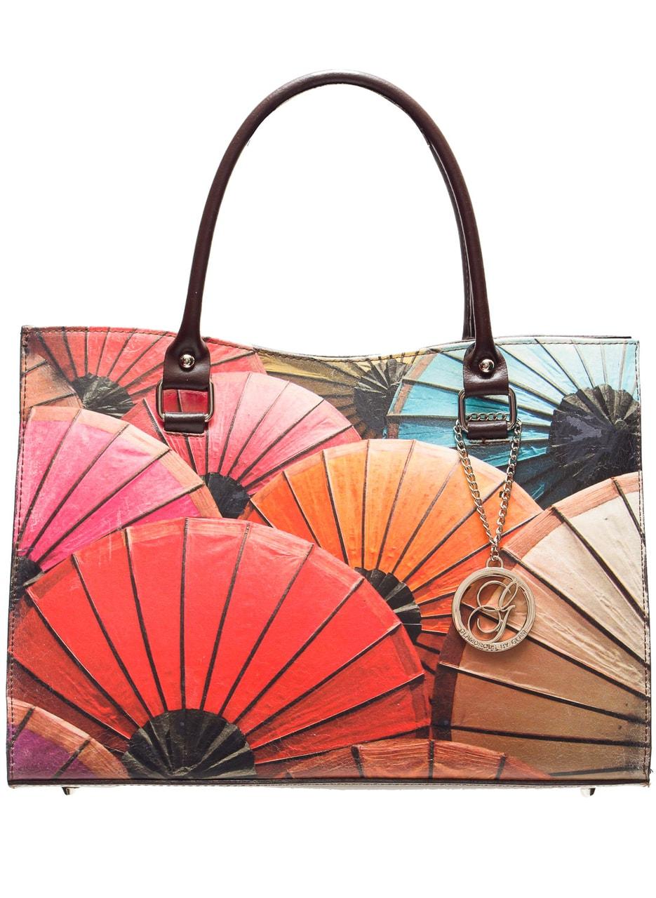 Glamadise.sk - Dámska kožená kabelka s farebným motívom - hnedá ... c75f9eeda1c