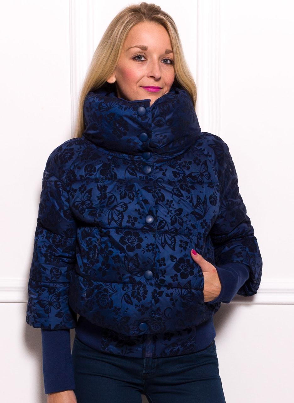 Glamadise.sk - Dámska krátka zimná bunda s lemom a kvetmi - tmavá ... 179ee8ecc4d