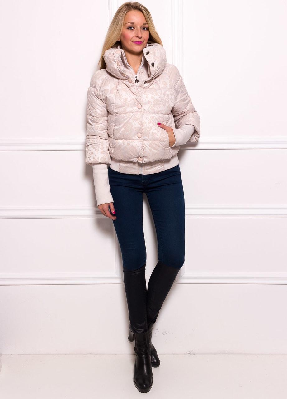 Dámská krátká zimní bunda s lemem a květy - smetanová - Due Linee ... 4917e0164e5