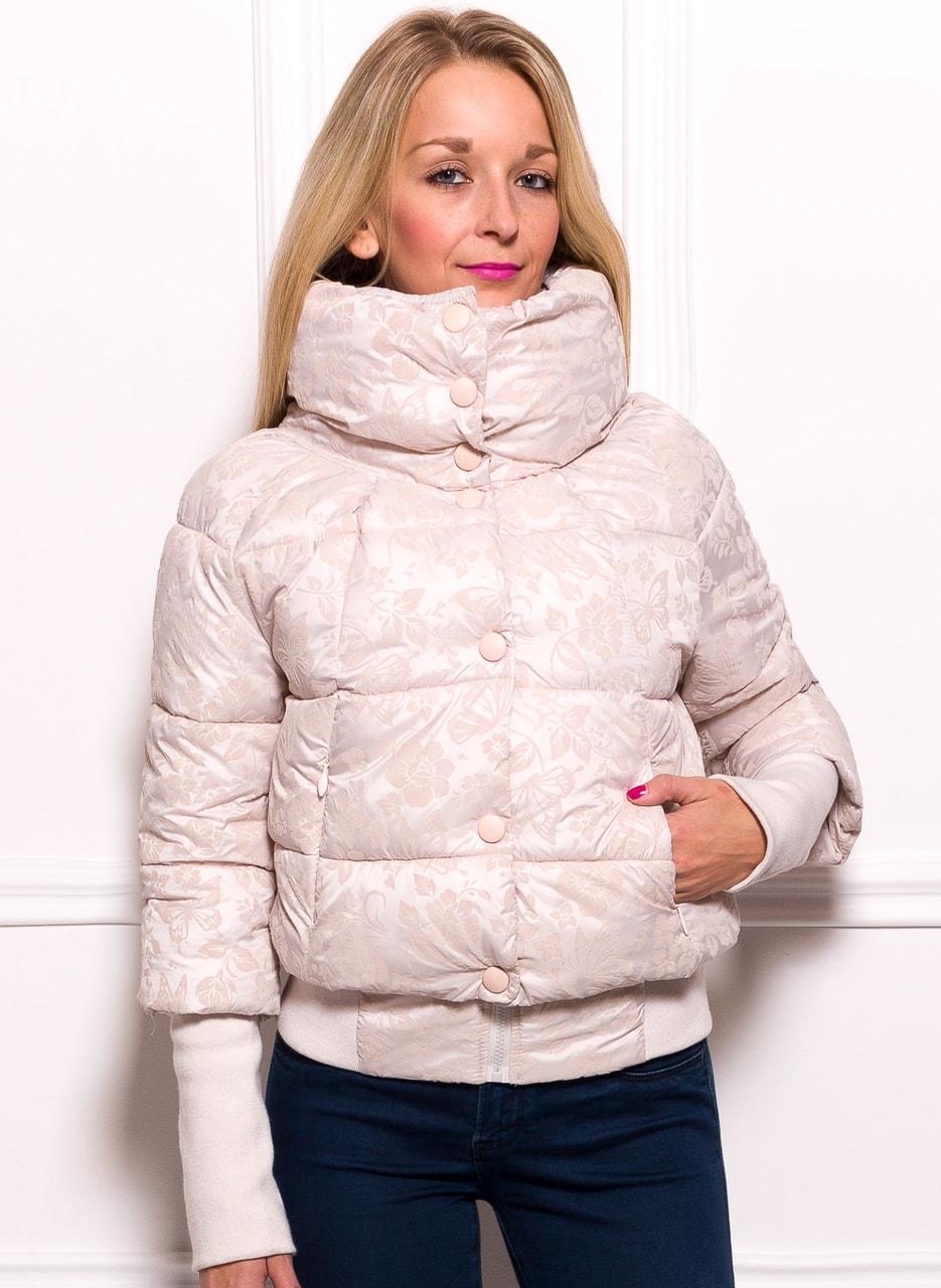 Glamadise.sk - Dámska krátka zimná bunda s lemom a kvetmi ... c090c3685d3