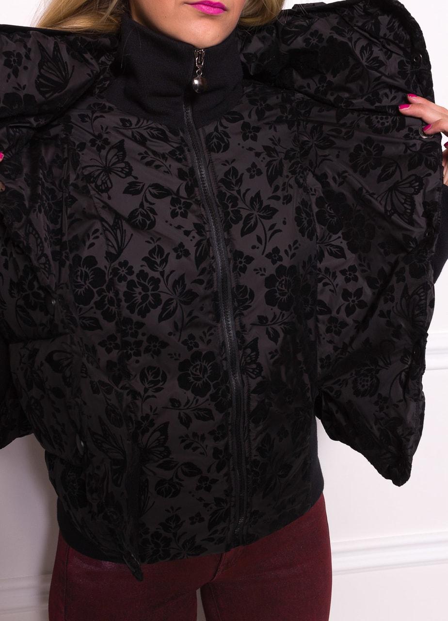 Glamadise.sk - Dámska krátka zimná bunda s lemom a kvetmi - čierna ... 5c1429b4222