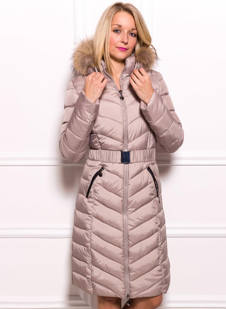 Glamadise.sk - Dámska zimná bunda s opaskom a pravou líškou béžová ... 246e2068ce6