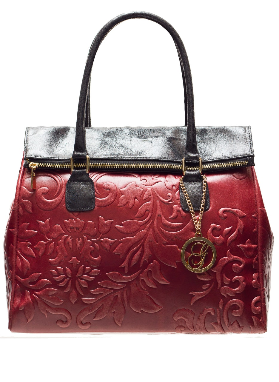 500059dc4f1 Dámská kožená kabelka kombinace černé a vínové květiny - Glamorous ...