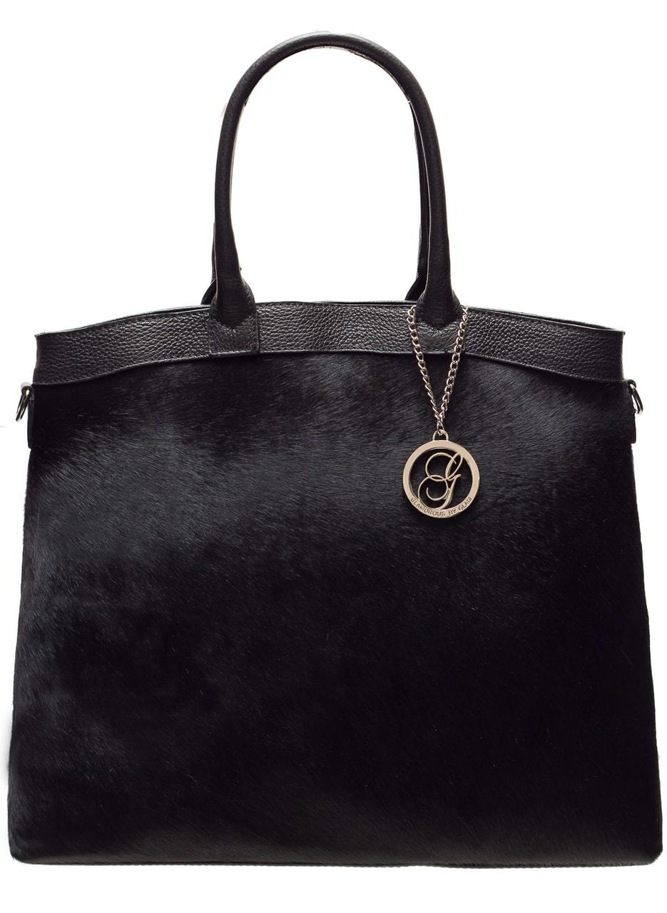 Glamadise.sk - Dámska luxusná kožená kabelka so srsťou - čierna ... 5e6307f67bf
