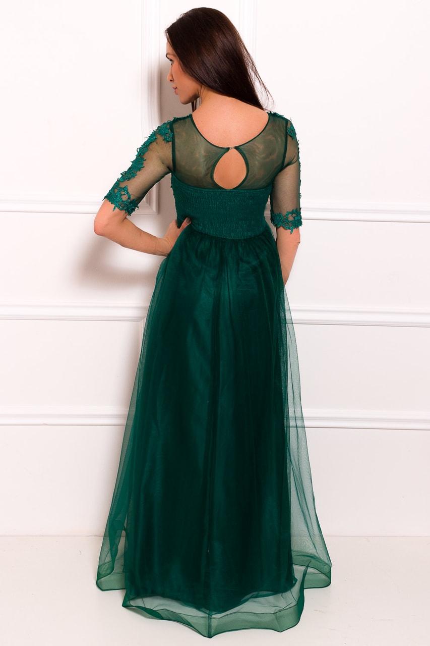 Glamadise.sk - Spoločenské luxusné dlhé šaty s rukávom - zelená ... b7d43c720d1
