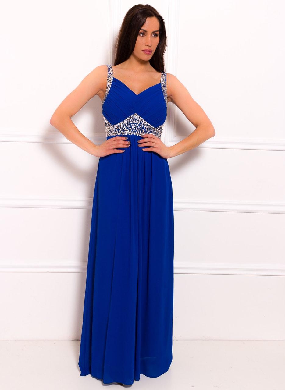 9198703ca74 Společenské dlouhé šaty se stříbrnými kamínky - královsky modrá ...