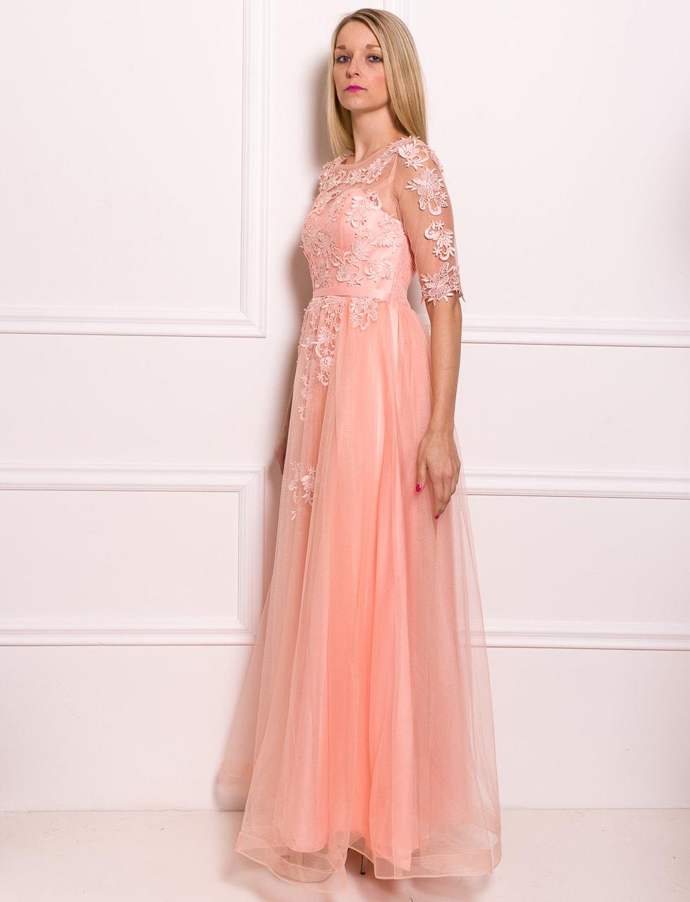 Glamadise.sk - Spoločenské luxusné dlhé šaty s rukávom - svetlo ... feeee87c0da