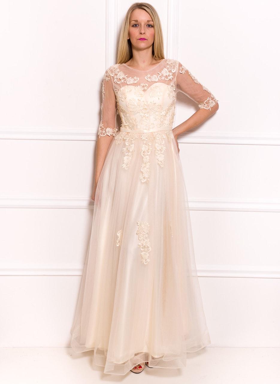 Glamadise.hu Fashion paradise - Női hosszú ruha Due Linee - Créme ... 75c3202096
