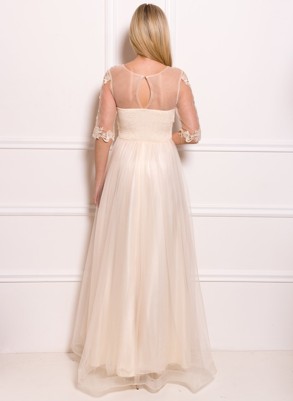 Glamadise.sk - Spoločenské luxusné dlhé šaty s rukávom - champagne ... c0138f679bb