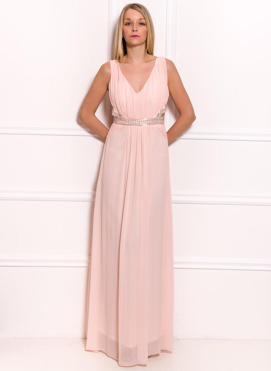 Společenské dlouhé šaty s průstřihy na boku a zdobením - světle růžová 4075c5458f