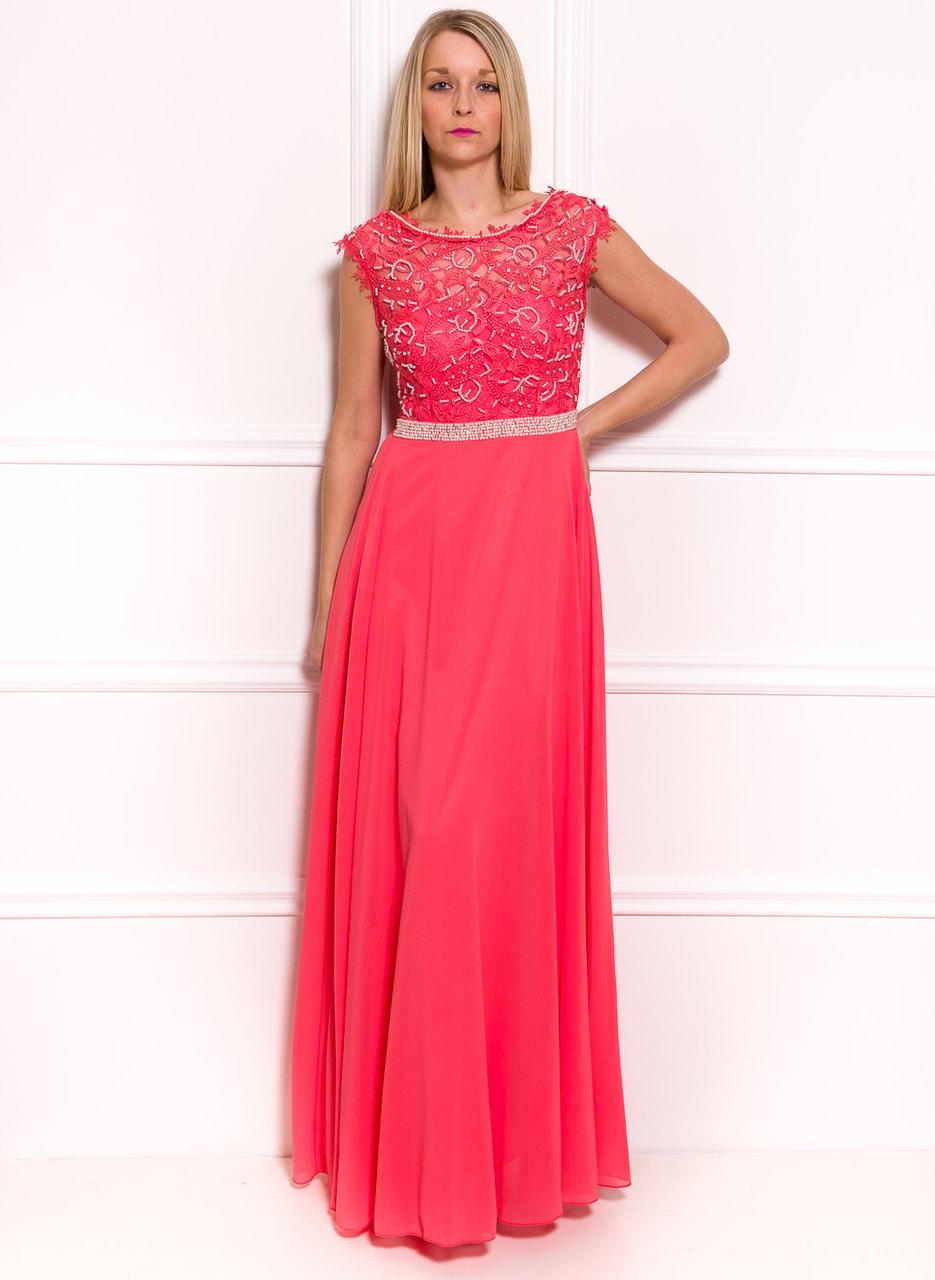 c820a7734b3 Společenské luxusní dlouhé šaty s krajkou a perličkami - tmavě lososová