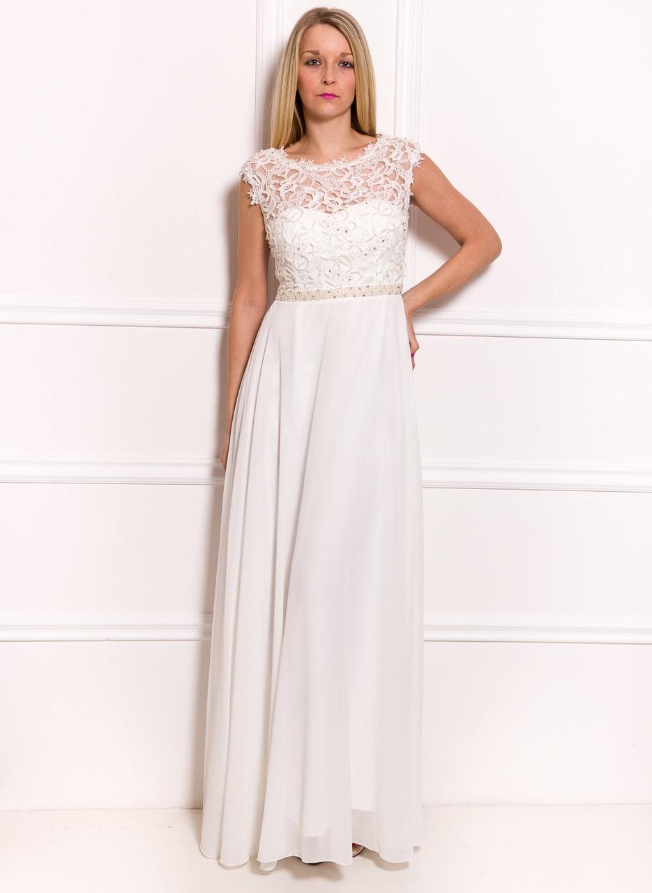 c5b2f1dce95 Společenské luxusní dlouhé šaty s krajkou a perličkami - bílá - Due ...