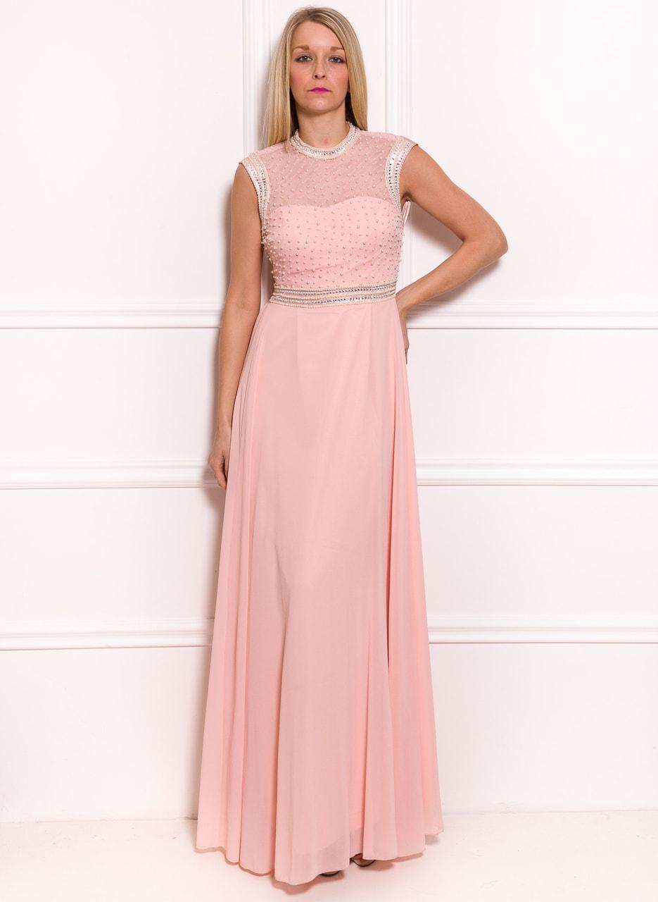 Glamadise.sk - Spoločenské luxusné dlhé šaty s perličkami - svetlo ... 00a1f5c382