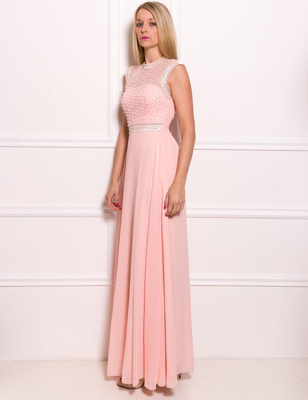 Společenské luxusní dlouhé šaty s perličkami - světle růžová - Due ... 6b7e84d80d