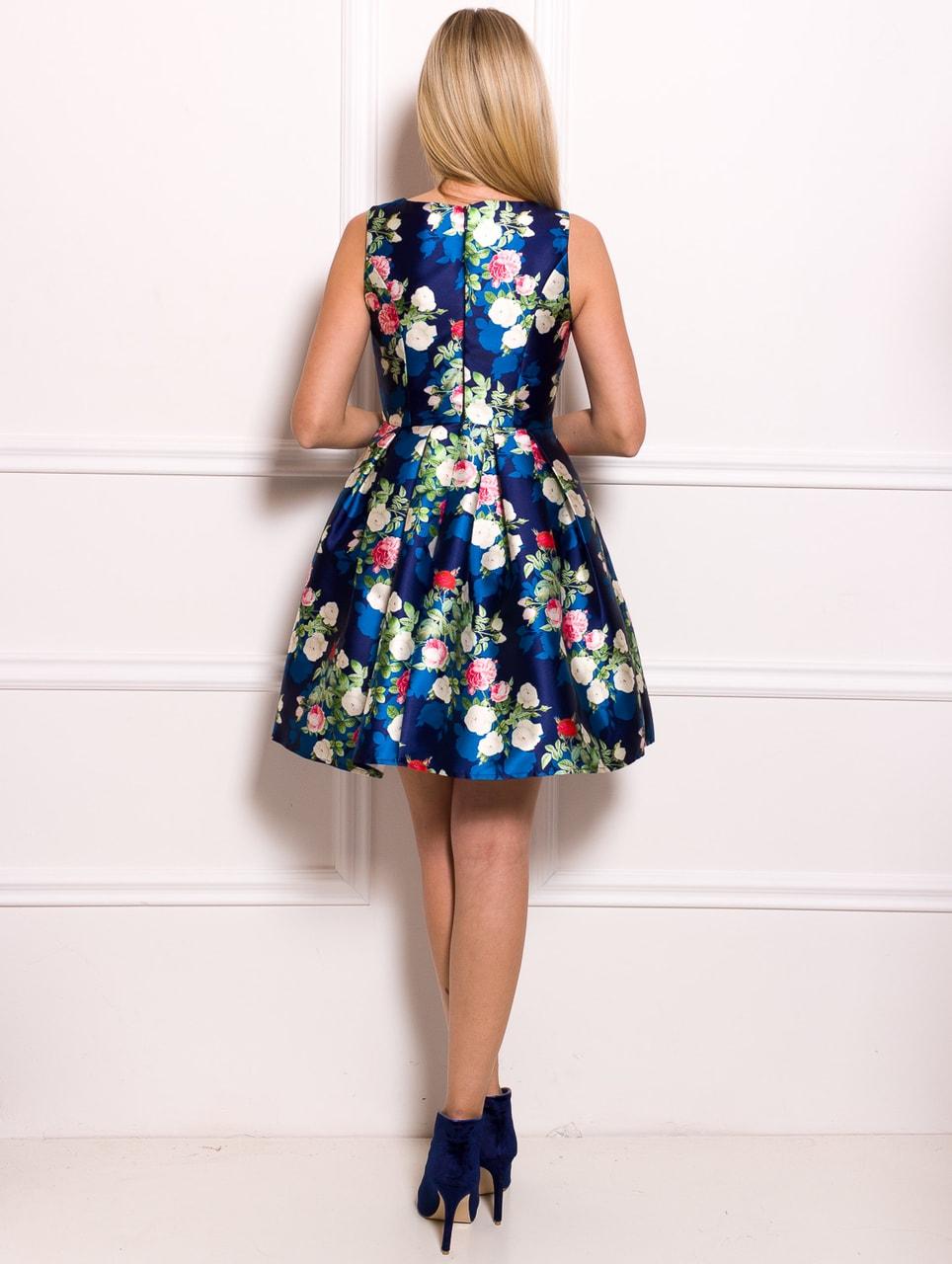 cef6953a25b Dámské šaty A střih modré s květinami - Due Linee - Promoce a svatby ...