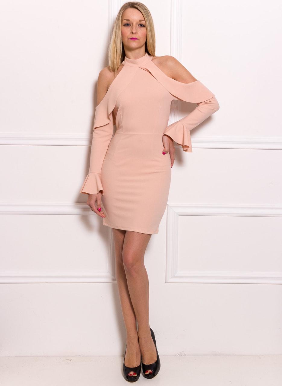 24e256e77e45 Dámské luxusní šaty s průstřihy na ramenou - růžová - Due Linee ...