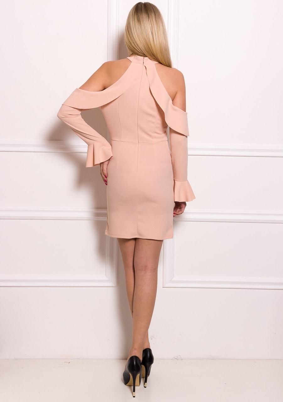 Glamadise.sk - Dámské luxusní šaty s průstřihy na ramenou - růžová ... 38a2c9095b