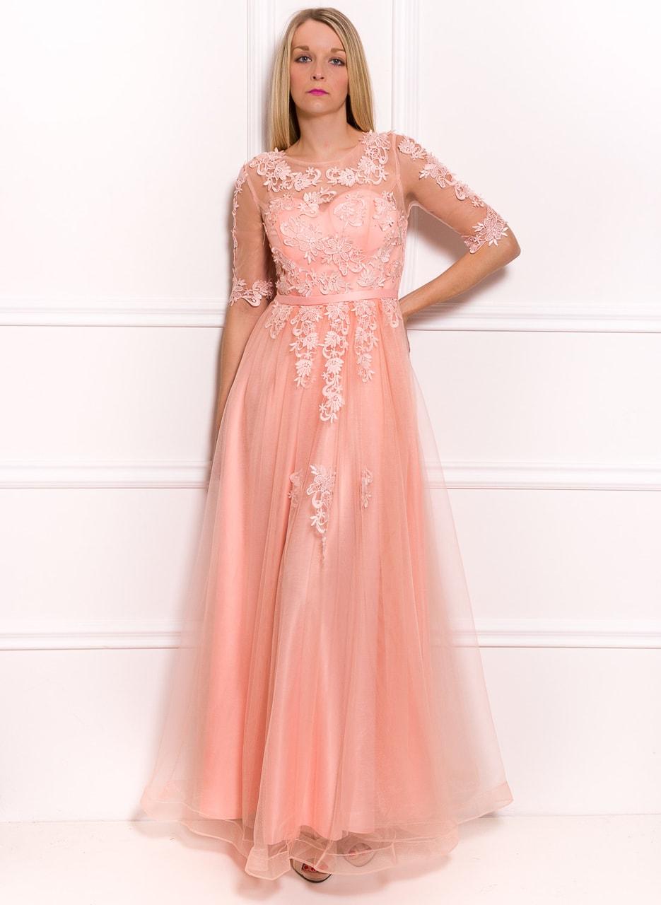 Glamadise.sk - Spoločenské luxusné dlhé šaty s rukávom - svetlo ... 8811ce17d70