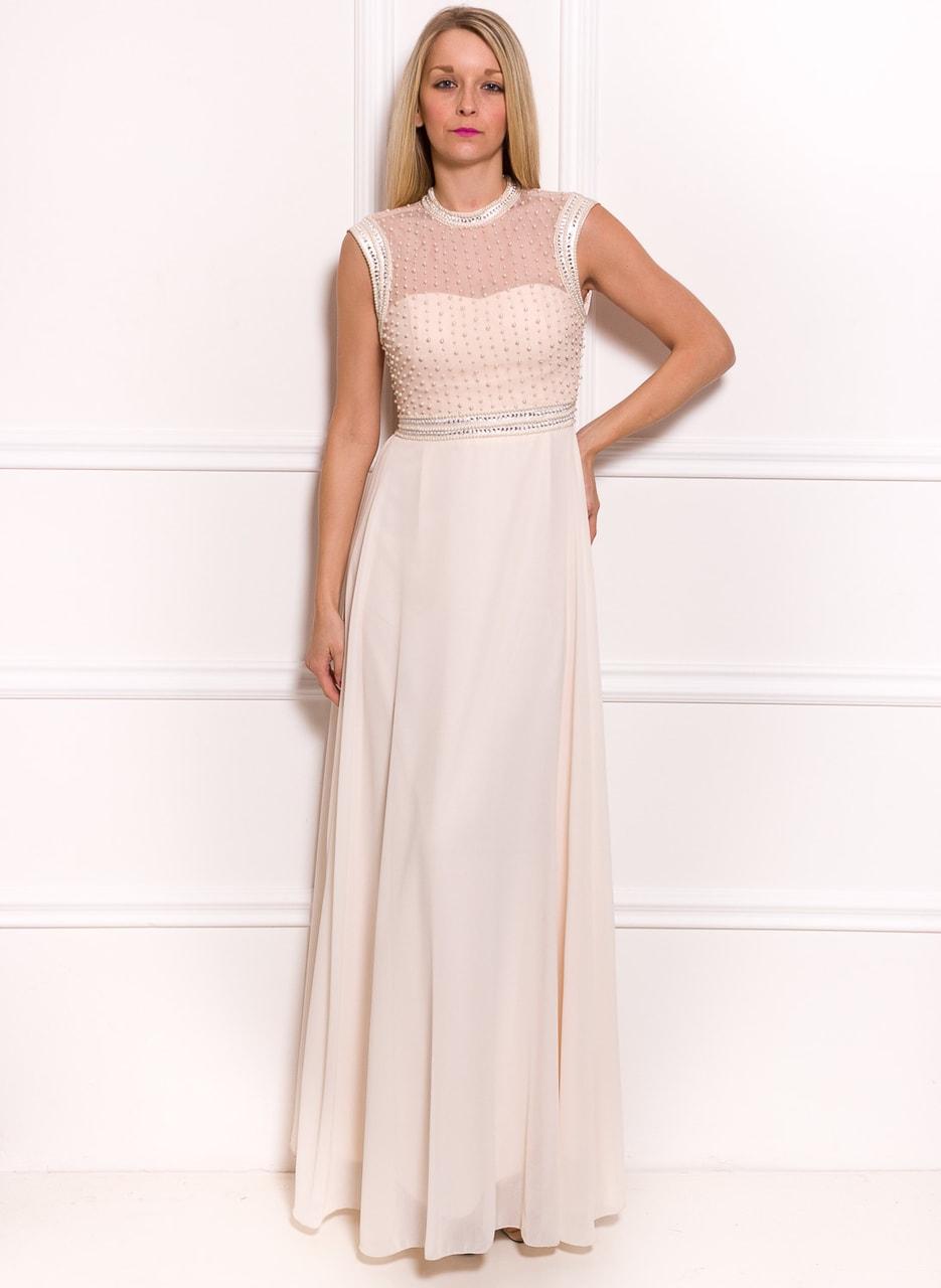 Společenské luxusní dlouhé šaty s perličkami - champagne - Due Linee ... be2c36f6d48
