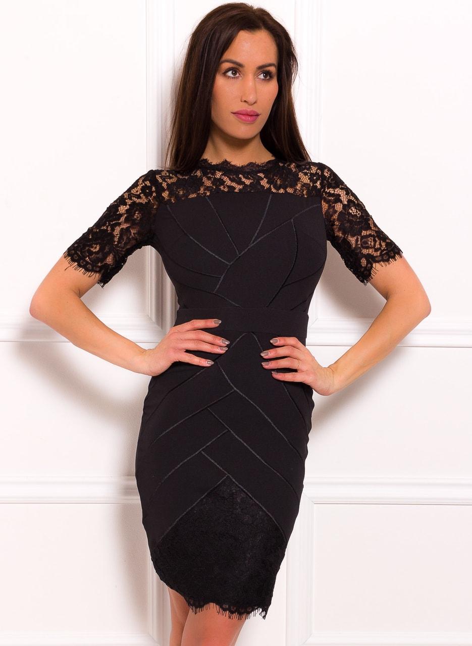 Dámské elegantní šaty s motivem a krajkovým rukávkem - černá - Due ... adcc8041e0
