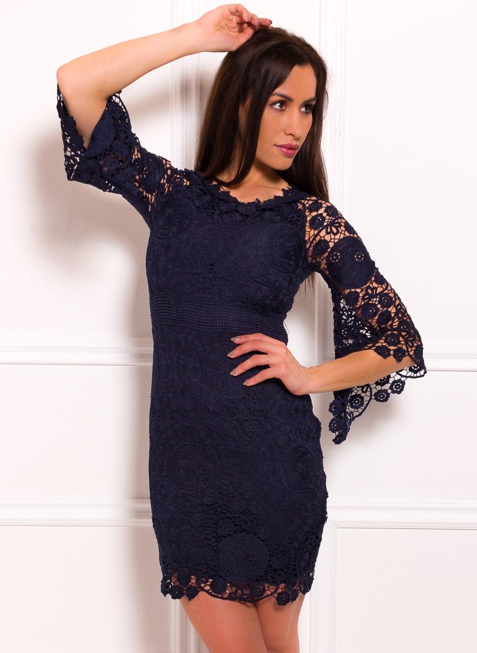 Dámské krajkové šaty s volánovým rukávem - tmavě modrá - Due Linee ... 745dd885b7