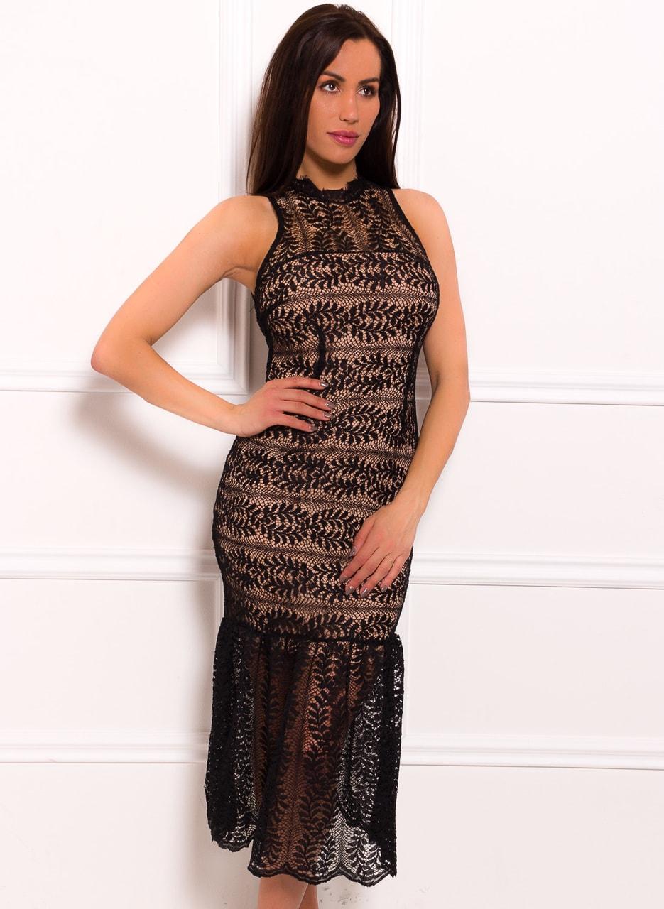 Dámské elegantní delší šaty s krajkou černo - béžová - Due Linee ... 6955c6830e