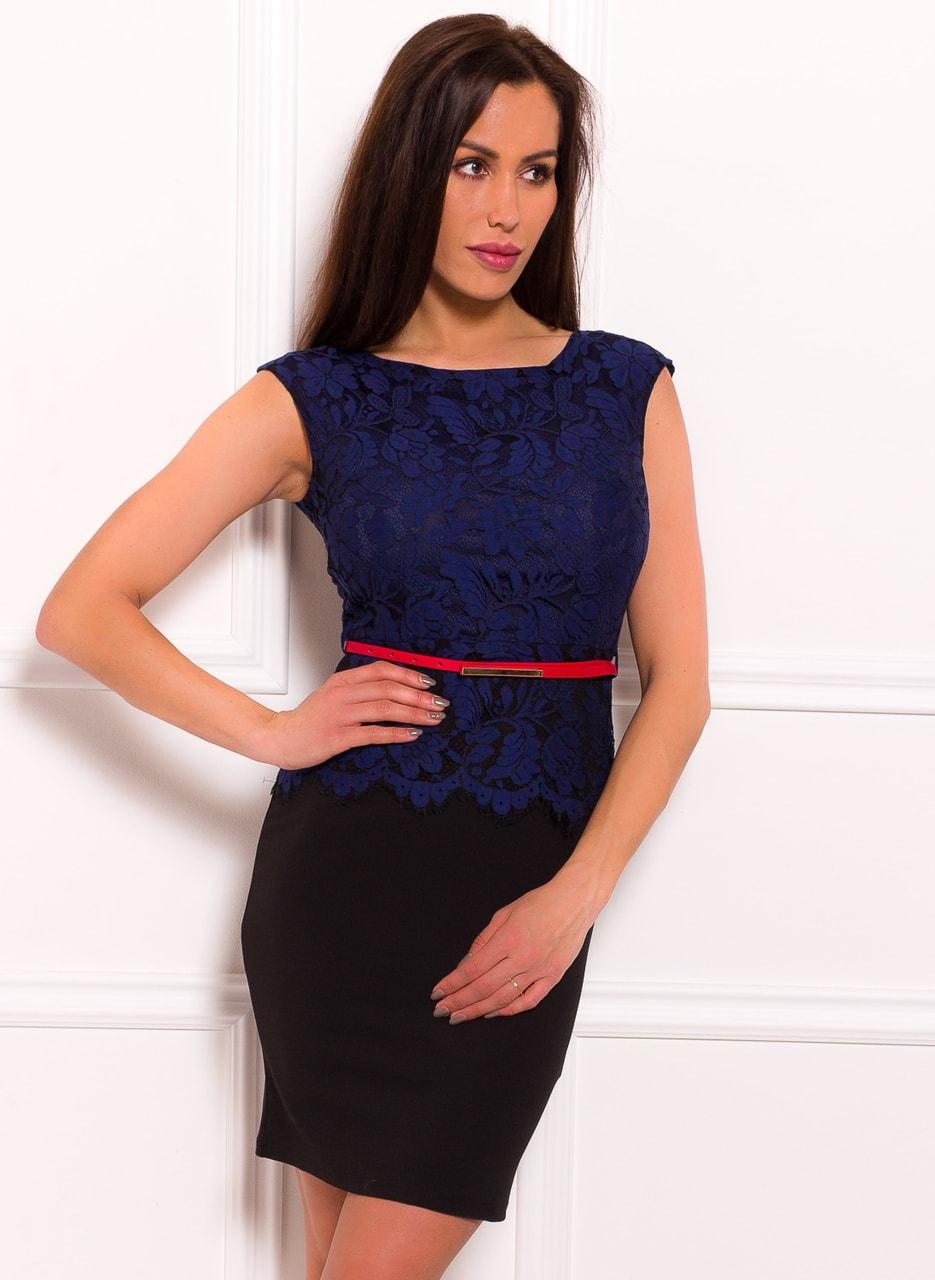 Dámské šaty modrou krajkou a červeným páskem zdarma - černá - Due ... 870da8f551